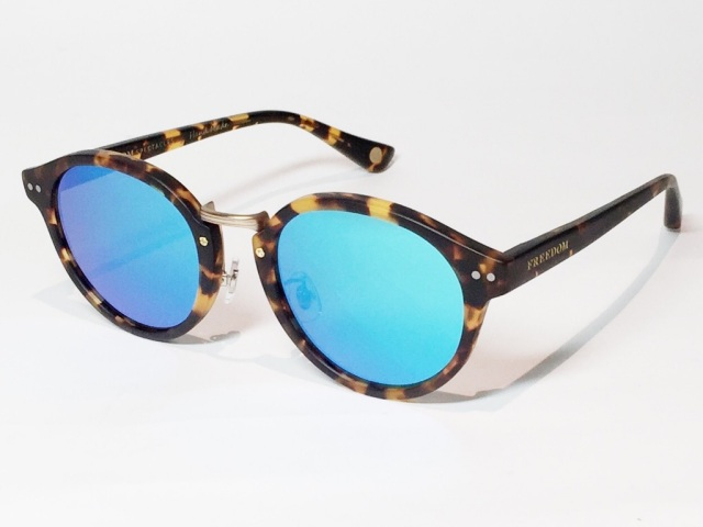 FREEDOM SPECTACLES (フリーダムスペクタクルス) MARTIN  COLOR. 07 ( Matte Yellow Tortoise - Matte Yellow Gold  / Blue Mirror )