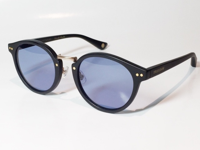 FREEDOM SPECTACLES (フリーダムスペクタクルス) MARTIN  COLOR. 03 ( Matte Black - Matte Yellow Gold  / Deep Blue )