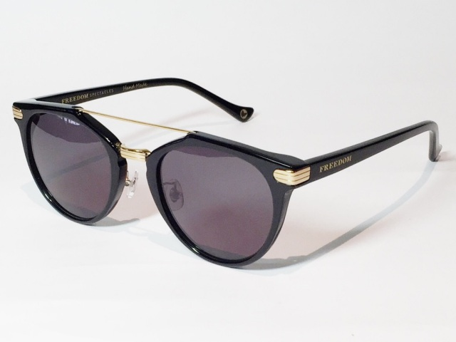 FREEDOM SPECTACLES (フリーダムスペクタクルス) POWELL  COLOR. 01 ( Black - Yellow Gold / Grey )
