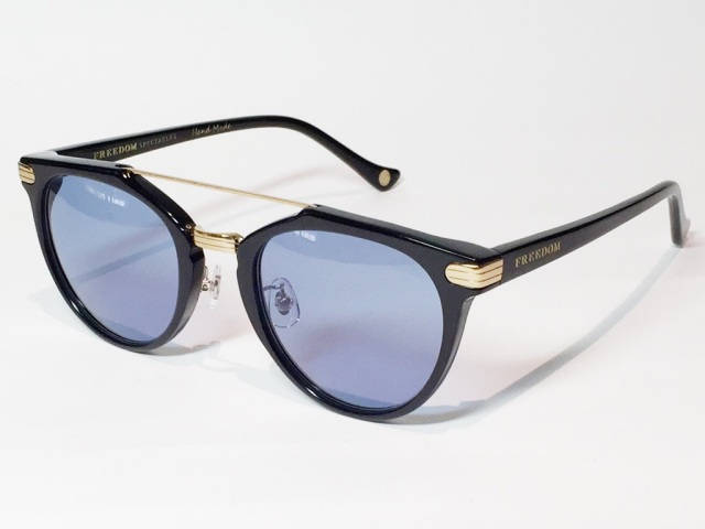 FREEDOM SPECTACLES (フリーダムスペクタクルス) POWELL  COLOR. 02 ( Black - Yellow Gold / Blue )