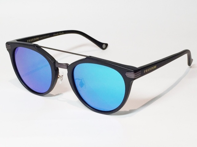 FREEDOM SPECTACLES (フリーダムスペクタクルス) POWELL  COLOR. 03 ( Matte Black - Matte Dark Gunmetal / Blue Mirror )