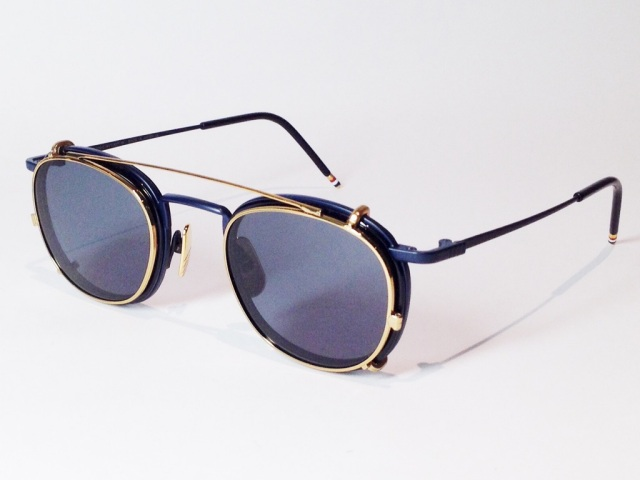 THOM BROWNE(トム ブラウン) TB-710-C-NVY-NVY-46 ( FRAME : MATTE NAVY - NAVY / CRIP : 18K GOLD / D.GREY )
